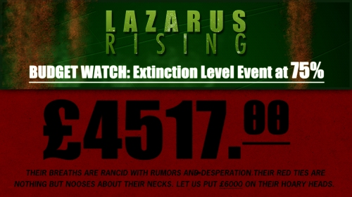 Lazarus Rising Budget Watch. #ELE Extinction Level Event at 75 percent. Help us reach £6000 by donating to the indie film.