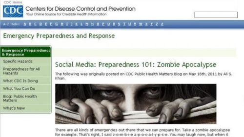 Screenshot of CDC webpage warning of impending Zombie plague.